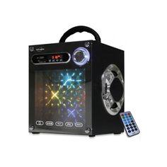 Avec cette enceinte, l'enfant peut inviter des amis et organiser une boum quand il le souhaite ! Il a à la fois la musique et les lumières. Pour la musique, il choisit une station de radio FM ou bien d'écouter sa propre musique. Pour cela, il relie  l'enceinte à un ordinateur, à son mp3 ou à une chaîne grâce à la prise Jack. Il peut également utiliser une carte SD ou MMC. Cette enceinte fait aussi office de spot lumineux. Son kaléidoscope diffuse de la lumière au rythme de la musique.