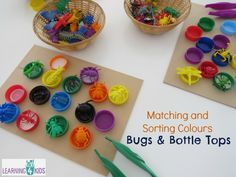 Matching and sorting colours with bugs and bottle tops - fine motor activity Insect Activities, Sorting Activities, Color Activities, Fun Activities For Kids, Color Bug, Sorting Colors, Preschool Learning, Kindergarten Math, Funky Fingers