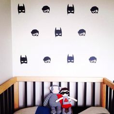A collaboration between One Hundred Percent Heart and the amazing Little Pop Studio, this set of Batboys Wall Stickers are based on an original Watercolour by Boys Wall Stickers, Wall Decals, Lps, Modern Scandinavian Interior, Deco Originale, Bed Wall, Kids Decor, Home Decor, Decoration Design