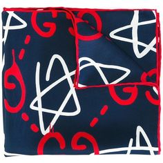 Gucci logo print pocket square (€120) ❤ liked on Polyvore featuring men's fashion, men's accessories, handkerchiefs and blue