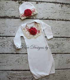 Baby girl coming home outfit Newborn gown and hat Baby shower gift Baby layette Babyshower girl Cute baby outfit Baby Christmas outfit on Etsy, $34.00
