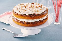 Pumpkin-Praline Layer Cake Recipe - Kraft Recipes (have made this many times.yummo show stopper) Pumpkin Spice Cake, Pumpkin Dessert, Pumpkin Cheesecake, Layer Cake Recipes, Dessert Recipes, Desserts, Yummy Recipes, Kraft Recipes, Cool Whip