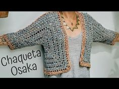 You won't believe how easy it is to make a lightweight, bishop-sleeved sweater in this crochet cardigan video tutorial. Start by learning how to crochet two large hexagons and then watch how they can be transformed into your new favorite sweater Crochet Bolero, Pull Crochet, Crochet Coat, Crochet Cardigan Pattern, Crochet Jacket, Crochet Granny, Crochet Yarn, Crochet Clothes, Crochet Patterns