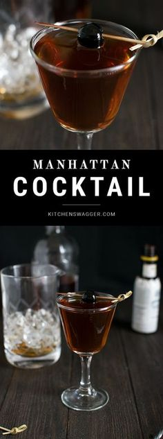The classic Manhattan cocktail is perfectly constructed with bourbon, sweet vermouth, bitters, and a Luxardo cherry. This recipe includes both classic and perfect Manhattan renditions. Brandy Cocktails, Mezcal Cocktails, Coffee Cocktails, Whiskey Drinks, Classic Cocktails, Fun Cocktails, Winter Cocktails, Burbon Drinks, Cheers