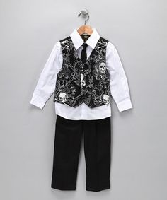 College Boyys White & Black Skull Vest Set on #zulily!