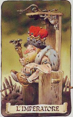 IV. The Emperor - Tarot of the Gnomes by Antonio Lupatelli