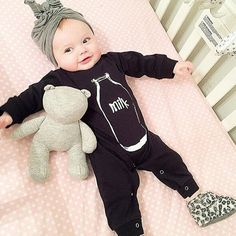 Fly Fishing Lure Printed Newborn Infant Baby Boy Girl One-Piece Suit Long Sleeve Outfits Black