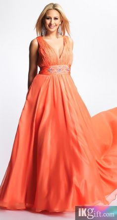 A line V Neck Chiffon with Beading Long Prom Dress - Prom Dresses - Wedding & Events
