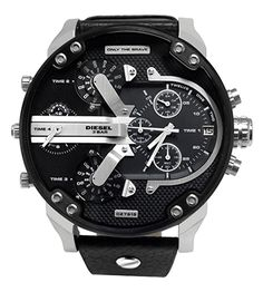 Montre Diesel Homme DZ7313 - Quartz Chronographe - Cadran Acier inoxydable Noir - Bracelet Cuir Noir - Etanche 30M - Date