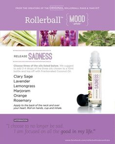 Essential oil roller bottle recipe to release sadness. Healing Oils, Aromatherapy Oils, Aromatherapy Recipes, Young Living Oils, Young Living Essential Oils, Essential Oils For Depression, Doterra Essential Oils, Essential Oil Blends, Roller Bottle Recipes