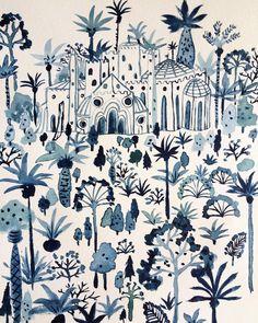Palace backyard #illustration #watercolor #drawing by vikki.chu
