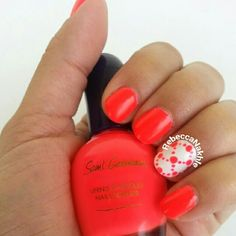 """Dotted Neon Orange Chain Nails using Saint Germain #236 in """"First Date"""""""
