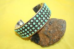 Vintage Zuni Sterling Snake Eyes 4 Row Turquoise by SilverInSpades