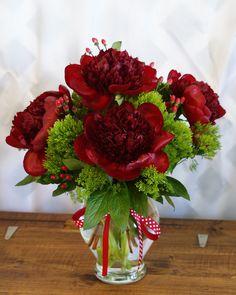 Beautiful Dark Red Peonies Arrangement