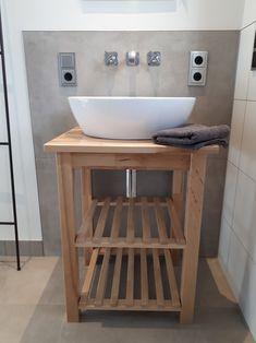 Bekväm Servierwagen als Waschtisch, Oberkante Waschbecken 90cm, Aufsatzwaschbecken Laufen Pro B oval,  #Waschtisch #Holzwaschtisch #ikeahackbekväm #bekväm #ikeahack #wastafel #wandarmatur #aufsatzwaschbecken #Laufenprob #waschschale #bathroom #badkamer #badezimmer #kleinesbadezimmer #smallbathroom Sink Vanity