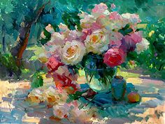 "Berberian, Ovanes - ""Still Life with Roses""; master colorist in the tradition of Russian impressionism Painting Still Life, Still Life Art, Paintings I Love, Beautiful Paintings, Floral Paintings, Wow Art, Arte Floral, Art Plastique, Painting Inspiration"