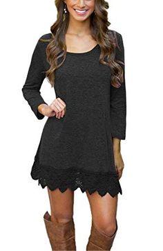 Longwu Womens Long Sleeve Tunic Lace Stitching Trim A-line Casual Dress