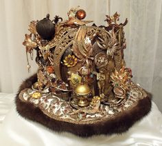 Amazing Crown Royal Head Piece Brass Bejeweled by Marelle Couture of Hopscotch Couture.