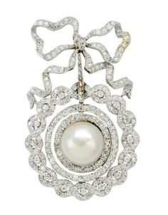 An Edwardian Pearl and Diamond Pendant Brooch, circa 1905
