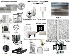 Well constructed and beautiful detail-orientated focusing on silver interior accents by designer Karen Schmidt - See more here: Room, Interior, Interior Inspiration, Coffee Table Accessories, Bookshelf Accessories, Living Room Accent Pieces, Interior Design Boards, Interior Accents, Chanel Inspired Room