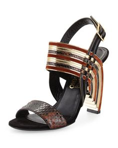 Salvatore Ferragamo Lenny Python & Mixed Leather Geometric Sandal Fall 2015