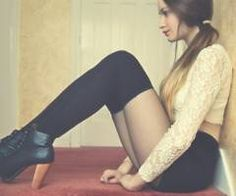 Love everything about this : Ombre hair, lace top, thights and high waisted shorts