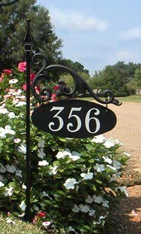 USA Handcrafted Annandale Double Sided Reflective Address Sign Post - USA Made - Help Delivery Driver, Easy to Read Day and Night House Gate Design, Home Garden Design, House Address Sign, Address Signs, Address Numbers, Front House Landscaping, Storefront Signs, Garden Plaques, Wrought Iron Decor