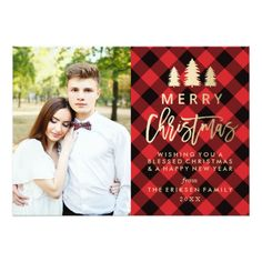 Cozy Plaid Holiday Photo Card in Red