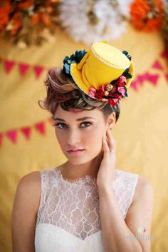 Whimsical Mini Top Hat, Wedding Hat, yellow, Pink, Red, Blue,  Birthday Party Hat, Bridesmaid , Tea Party - AS SEEN on Rock n' Roll Bride. $125.00, via Etsy.