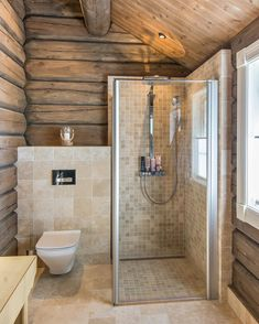 Shower room in a wooden house! How do you like this design? In my opinion it looks very . Best Bathroom Designs, Bathroom Trends, Bathroom Renovations, Remodel Bathroom, Bathroom Ideas, Bathroom Organization, Casa Santa Rita, Log Cabin Bathrooms, Cabin Interiors
