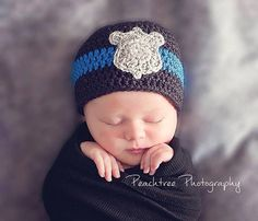 Thin blue line badge baby beanie