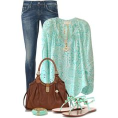 A fashion look from May 2014 featuring green shirt, embroidered jeans and leather shoes. Browse and shop related looks. Chic Outfits, Fashion Outfits, Womens Fashion, Fashion Trends, Spring Summer Fashion, Spring Outfits, Weather Wear, Warm Weather, Redhead Fashion
