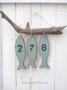 DIY Pallet Wood fish Coastal house numbers