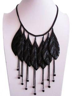 Black Leaves Chain Tassel Necklace