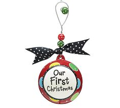 Jumbo, hand-painted, ceramic ornament with a decorative, beaded hanger tied with grosgrain ribbon.