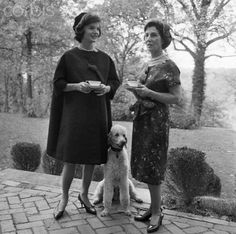 Jackie Kennedy with her mother and family Poodle was also 1st Lady