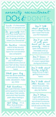 Sorority recruitment tips...more relevant for PNMs, but still useful for chapter members.
