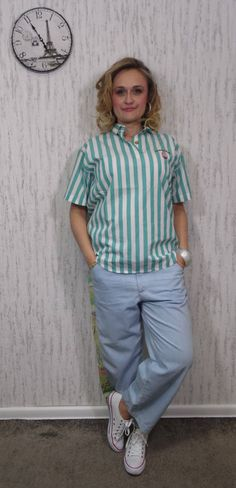Green and White Striped Oversized Power Shirt - Funky by SweetSpicyVintage on Etsy Vintage Outfits, Green, Model, How To Wear, Shirts, Clothes, Etsy, Style, Fashion