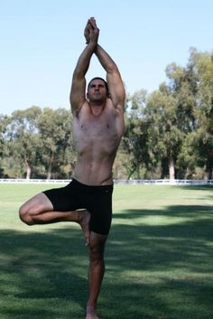 Beautiful #yoga, male, guy, man, tree, balance pose, via Yoga with Barry