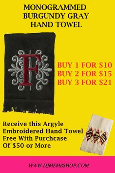 BURGUNDY AND GRAY MONGRAMMED HAND TOWEL