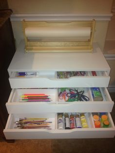 Alex cabinet from IKEA used to organize our art supply's. I also used inserts from the home kitchen department for additional organization.