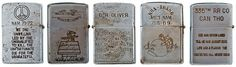 Most know that Zippo lighters have been carried by brave soldiers during battles for decades. Used by these heroes for more than just lighting smokes, they saved lives by stopping bullets, signaling friendlies, and lighting up battlefields.   They're a canvas for recording various political statements and soldiers' stories too. On June 21st 2012, 252 genuine Vietnam War-era Zippo lighters were sold at @Cowan's Auctions for $35,250! Click to check out the whole collection!