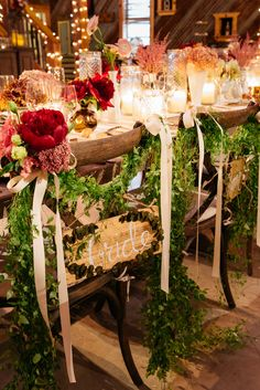 Bride and Groom Ribbon and Flower Chair Decor | Marcy Blum | Karlisch Photography