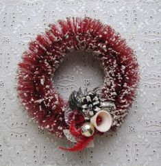 Vintage Christmas Red Mica Snow Dusted Bottle Brush Wreath