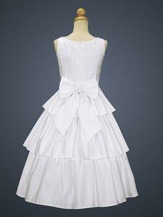 Satin Bodice w/ Pearl Accents & Skirt Cummerbund Communion Dress
