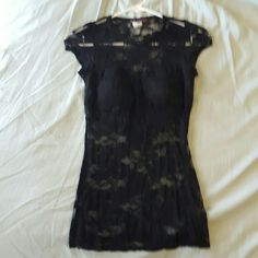 """Lace see through tee Lace tee with built in black """"bra"""" inside some wear but super sexy and cute.From a smoke free,  pet free home Body Central Tops Tees - Short Sleeve"""