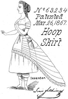 fashionrevealed:    Patent for a hoop skirt, 1867.