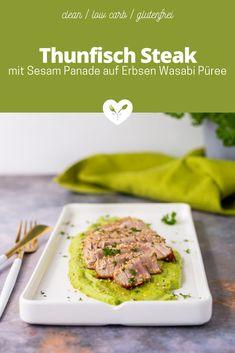 Die meisten kennen ihn vom Sushi oder im Salat: den Thunfisch. Selten gönnen wir uns diesen besonderen Fisch und bereiten damit am liebsten ein Thunfisch Steak mit Sesam Panade auf Erbsen Wasabi Püree zu. Kurz gebraten kommt nämlich der besondere Geschmack vom Thunfisch besonders gut zur Geltung. Die perfekte Ergänzung ist das Erbsen Wasabi Püree, auf dem wir den Thunfisch betten. Im Beitrag erfährst du auch, was du beim Kauf von Thunfisch unbedingt beachten solltest. Low Carb Meal, Meat, Tuna, No Sugar, Glutenfree, Healthy Recipes