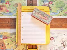 Yellow Wicker Lap Desk Basket Vintage Portable Case by Repoville