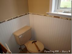 White Beadboard Applied Directly Over Tile My Pink Bathroom Is - How to fix bathroom wall